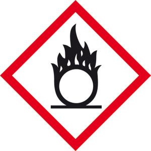 Gefahrensymbol: Flamme über Kreis