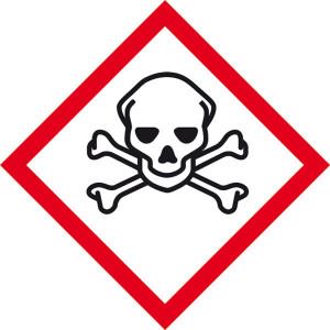 Gefahrensymbol: Totenkopf mit gekreuzten Knochen